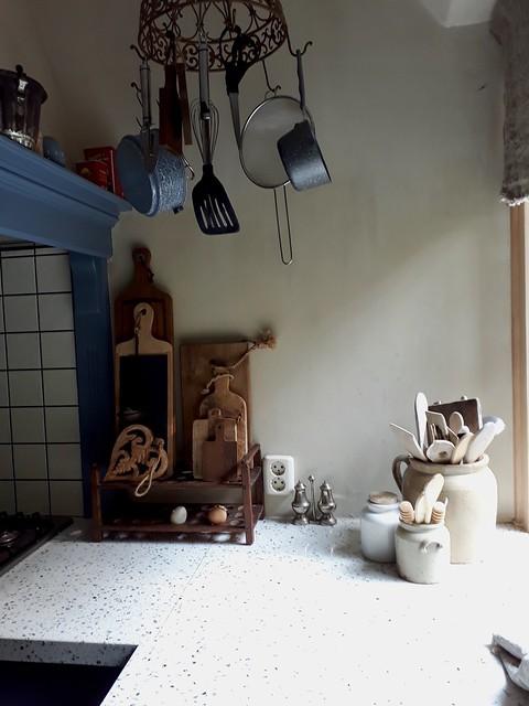 Blauwe keuken landelijk brocante