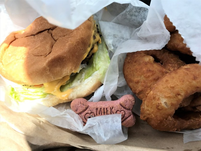 Double Cheeseburger and Onion Rings for Me and a Milkbone for Radcliff! Hungry Bear Drive-In, Ocala, Fla., Aug. 2017.