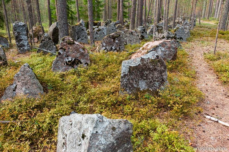 Финские гранитные противотанковые надолбы, Карельский перешеек