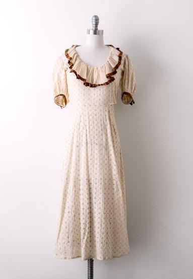 Vintage 1930's Cream Eyelet Cotton Dress