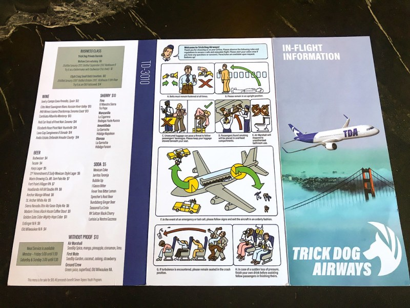 Trick Dog Airways menu