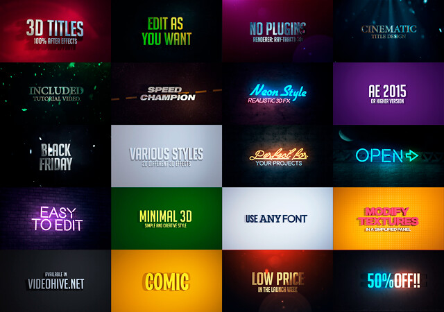 VIDEOHIVE 3D TITLES - NO PLUGINS - Free After Effects Template