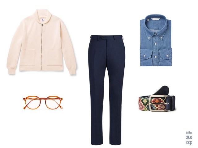 Look smart-casual con carding, pantalones de vestir, camisa azul y cinturón hombre Tauce