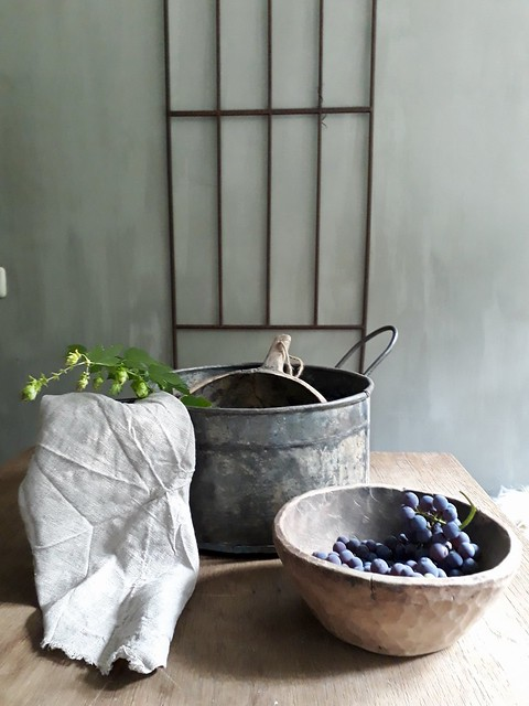 Hekwerk zinken pot houten bak