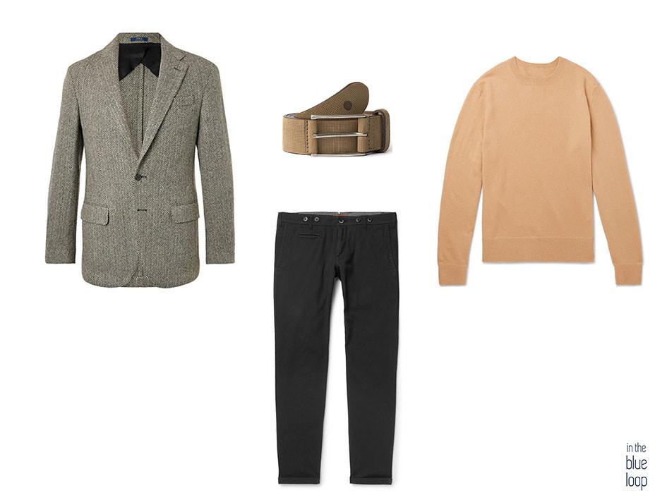 Look masculino con blazer de espiga, chinos, jersey y cinturón Anaga de blue hole