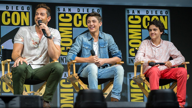 Zachary Levi, Asher Angel and Jack Dylan Grazer