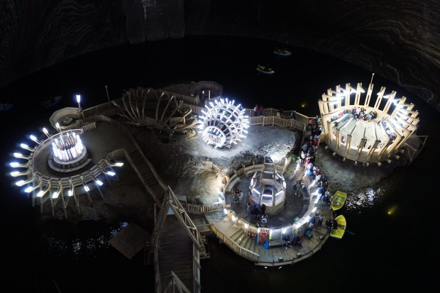 Terezia mine with the underground lake, Turda Salt Mine