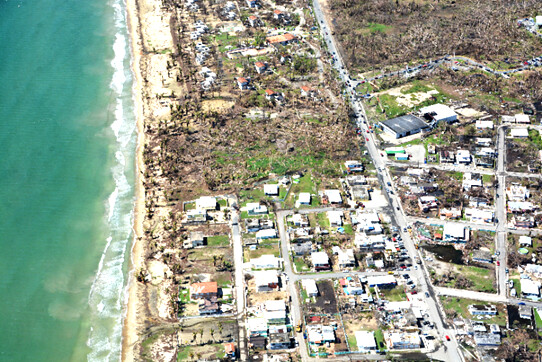 Fig. 5.c. Impacto de los vientos de María en la zona costanera del este de Puerto Rico, en la playa de Maunabo