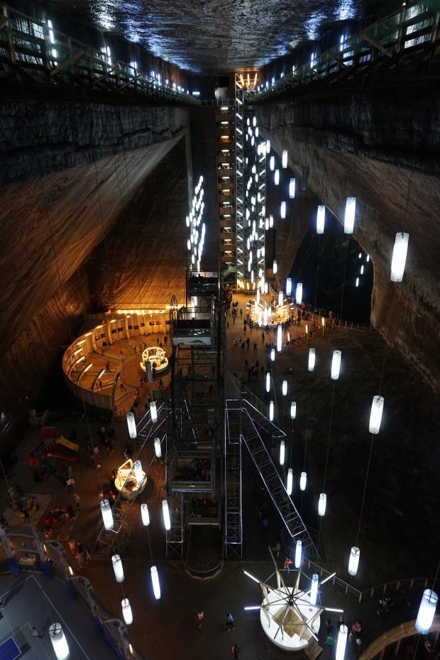 Main hall inside Turda Salt Mine