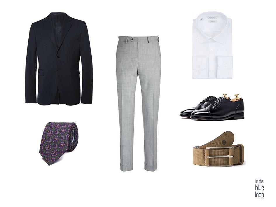 Look con pantalón de vestir, blazer azul, corbata, camisa blanca, zapatos oxford y cinturón beige Anaga