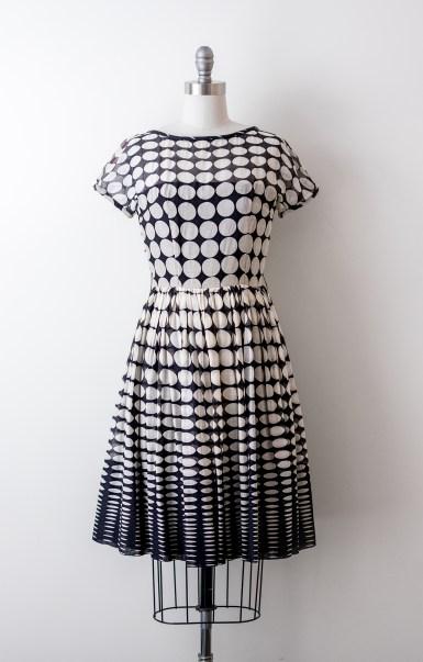 Vintage 1950's Black & White Circle Print Dress