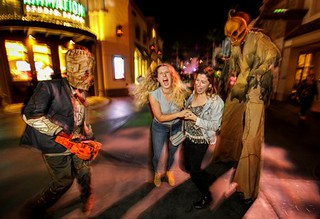 """""""Trick 'r Treat"""" scare zone at Universal Studios Hollywood's """"Halloween Horror Nights"""" 2018.."""