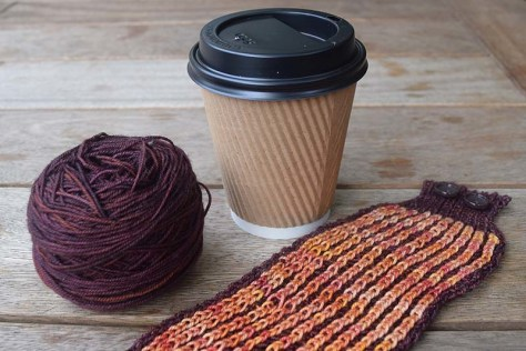 Brioche Knitting Coffee Cozy