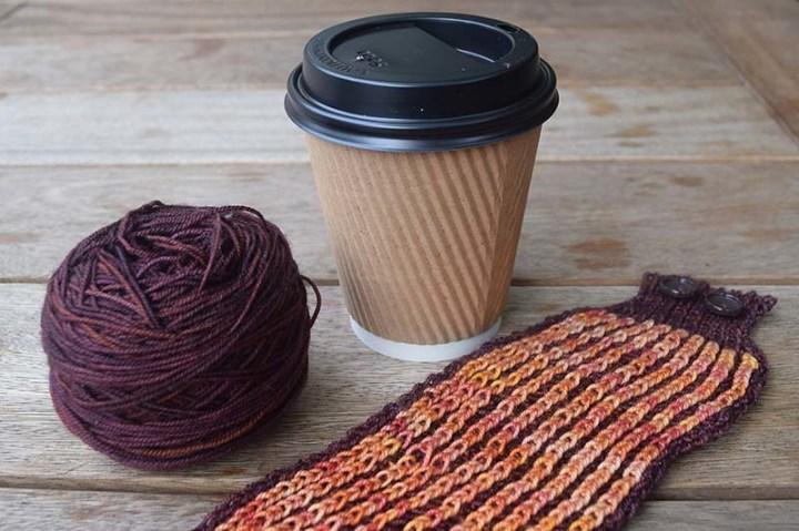 Brioche Knitting Coffee Cozy
