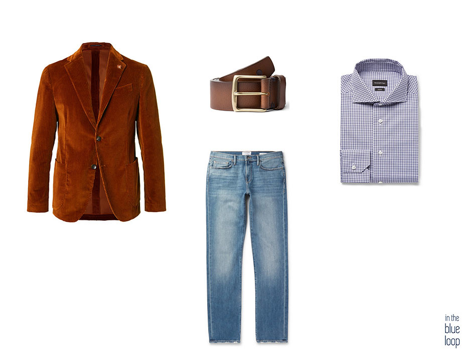 Blazer de pana con cinturón de cuero garoé de blue hole, vaqueros o jeans y camisa de cuadros azules