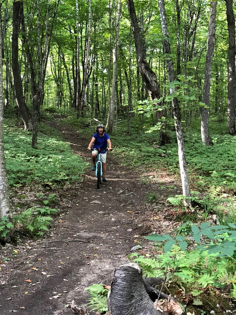 Pancake Bay Lookout trail Linda riding.