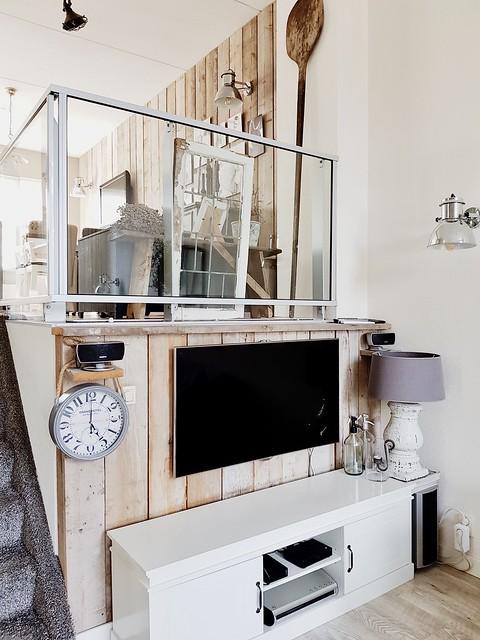 TV steigerhout muur kastje