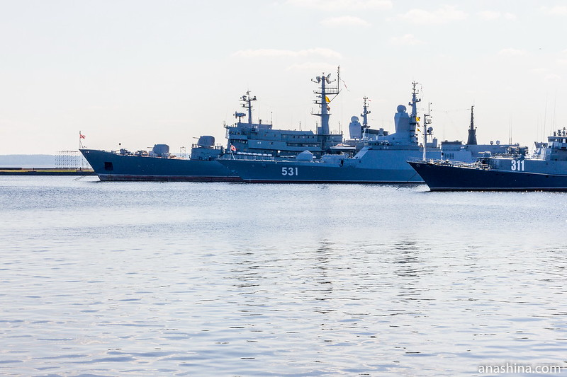Стоянка кораблей Балтийского флота ВМФ России в Средней гавани, Кронштадт