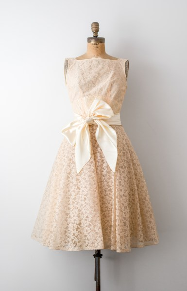 Vintage 1950's Cream Lace and Ivory Satin Bow Dress