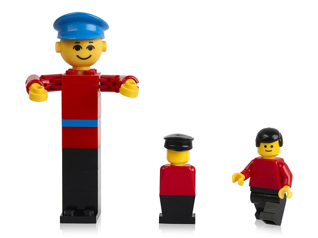LEGO building figure from 1974, stage extra from 1975 and minifigure from 1978