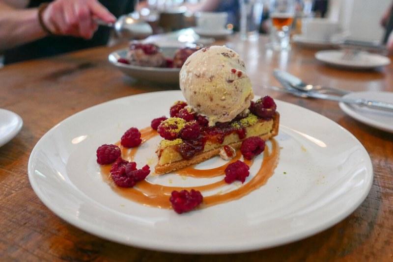 Raspberry Frangipane Tart, pistachio, vanilla-raspberry swirl ice cream $14