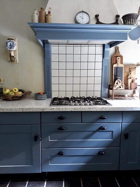 Blauwe keuken landelijke stijl