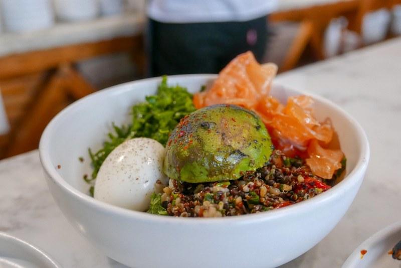 Quinoa and Lentil Bowl - Seasonal Vegetables, Kale, Six Minute Egg, Avocado, Gremolata $15, smoked salmon +$8