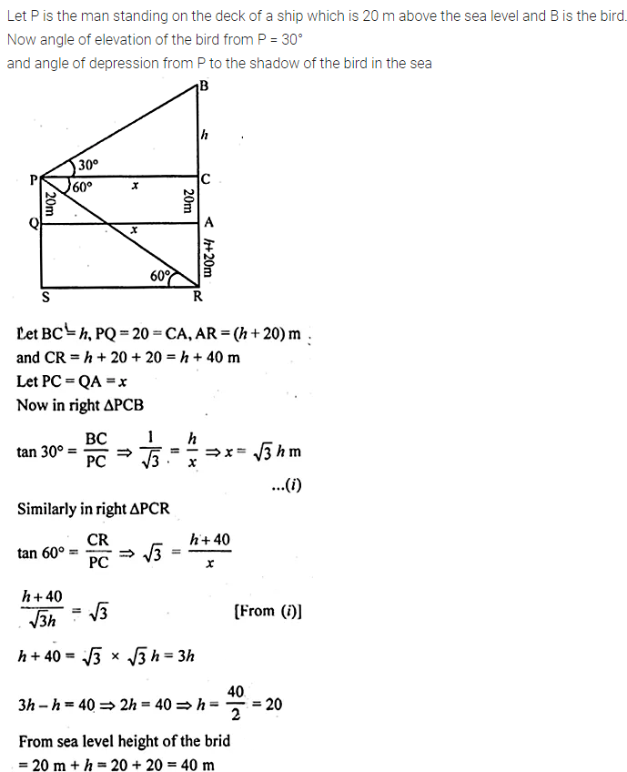ML Aggarwal Class 10 Solutions for ICSE Maths Chapter 21 Heights and Distances Chapter Test 10