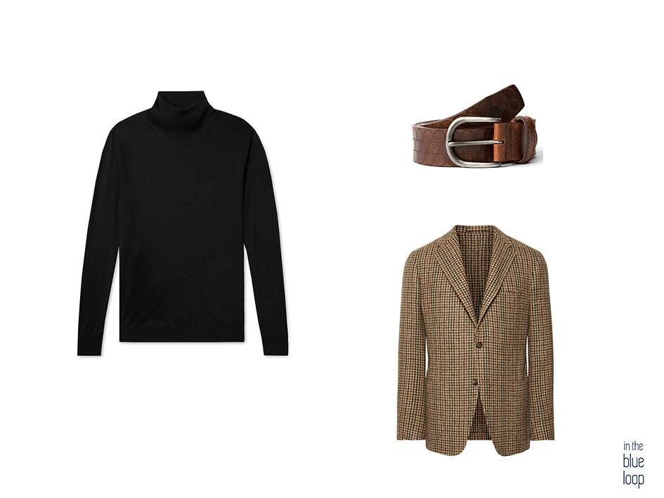 Blazer de tweed con jersey de cuello vuelto y cinturón de cuero marrón Nublo de blue hole