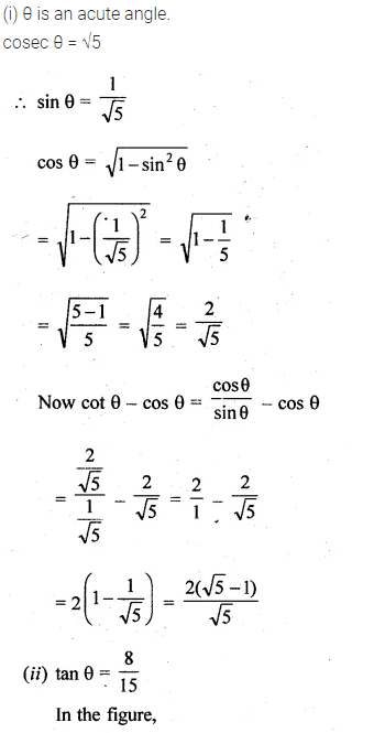 ML Aggarwal Class 10 Solutions for ICSE Maths Chapter 19 Trigonometric Identities Chapter Test 1