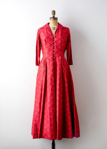 main 50s red satin floral gown