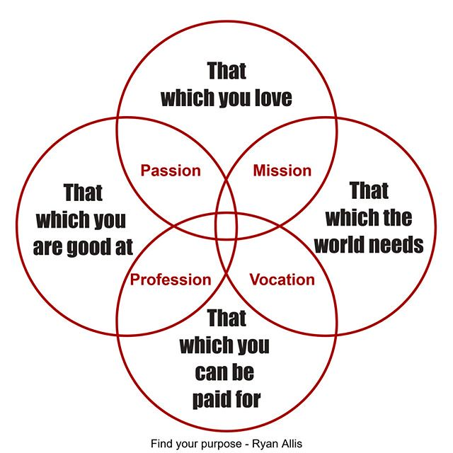 Is not always easy to find your purpose. And there are no shortcuts in the process. But there are aids and tools can help you get where you want to go! One of these tools is this scheme by Ryan Allis which can help you decide what you want to do and how y