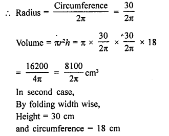RD Sharma Math Solution Class 9 Chapter 19 Surface Areas and Volume of a Circular Cylinder