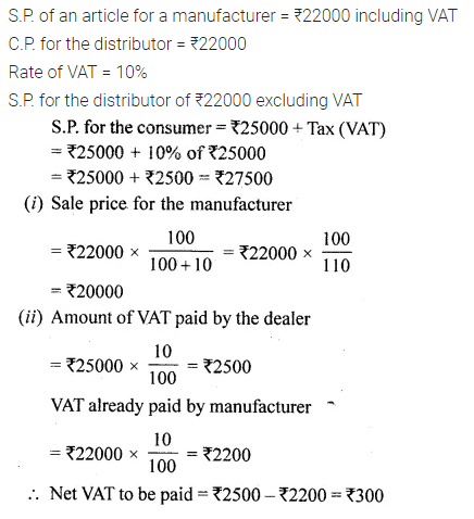 ML Aggarwal Class 10 Solutions for ICSE Maths Chapter 1 Value Added Tax Chapter 2