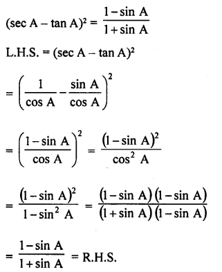 RD Sharma Class 10 Solutions Chapter 11 Trigonometric Identities Ex 11.1 - 39a