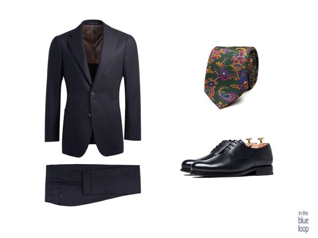traje masculino azul con corbata y zapatos derribe negros para hombre