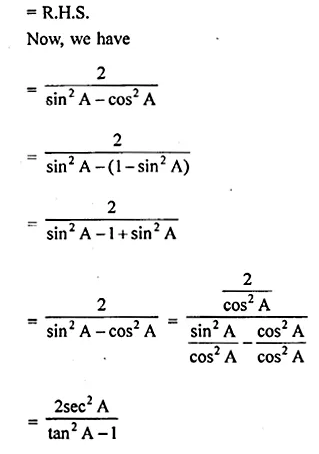 ML Aggarwal Class 10 Solutions for ICSE Maths Chapter 19 Trigonometric Identities Chapter Test 10a
