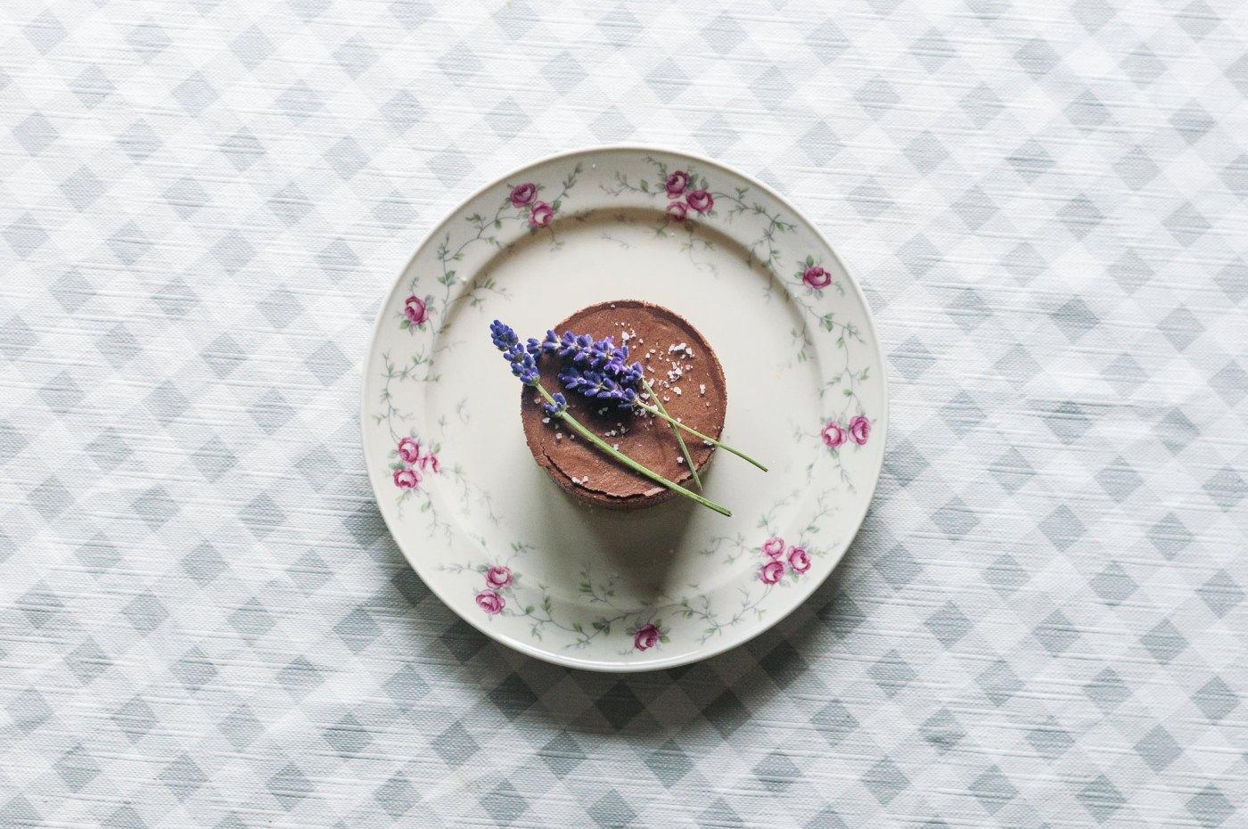 dark chocolate lavender mousse on olive oil cake