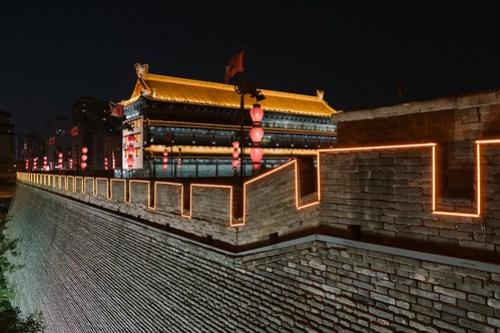 Xi'an city wall at night