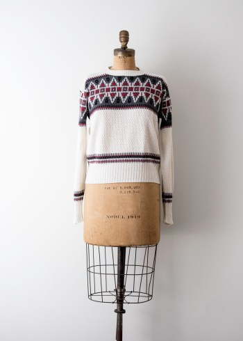 white burgundy navy sweater
