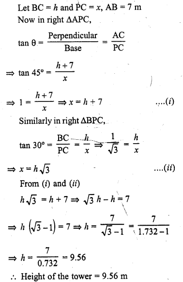RD Sharma Class 10 Solutions Chapter 12 Heights and Distances Ex 12.1 - 34a
