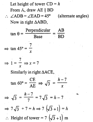 RD Sharma Class 10 Solutions Chapter 12 Heights and Distances Ex 12.1 - 28a
