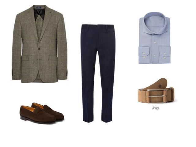 Élégant et décontracté avec un pantalon bleu, une chemise bleue, un blazer, des chaussures pour hommes en daim marron et la ceinture Anaga avec trou bleu