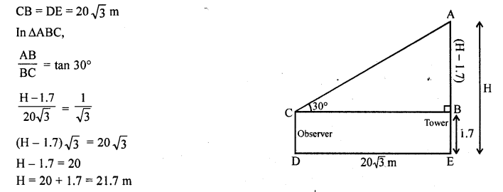RD Sharma Class 10 Solutions Chapter 12 Heights and Distances VSAQS - 10