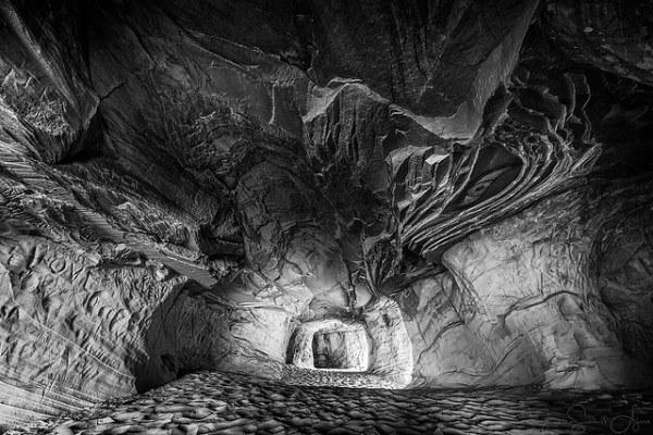 Sand Caves - B&W by Jeanie Sumrall-Ajero