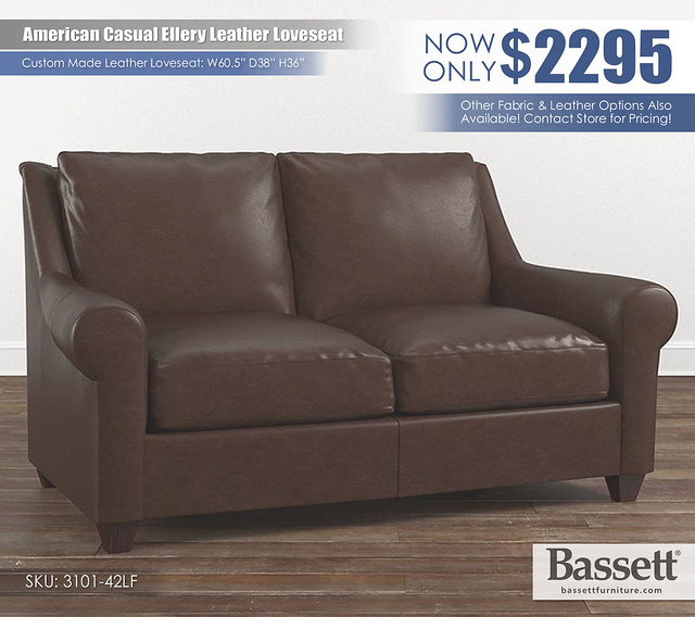 American Casual Ellery Leather Bassett Loveseat_3101-42