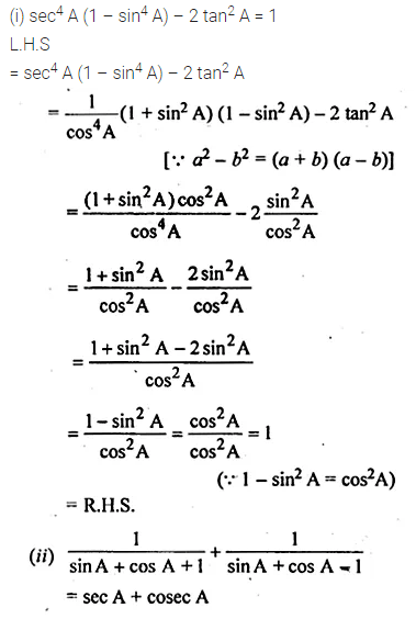 ML Aggarwal Class 10 Solutions for ICSE Maths Chapter 19 Trigonometric Identities Chapter Test 7