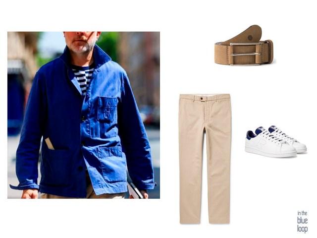Look casual con cinturón Aónaga de blue hole, chinos y sneakers blancas