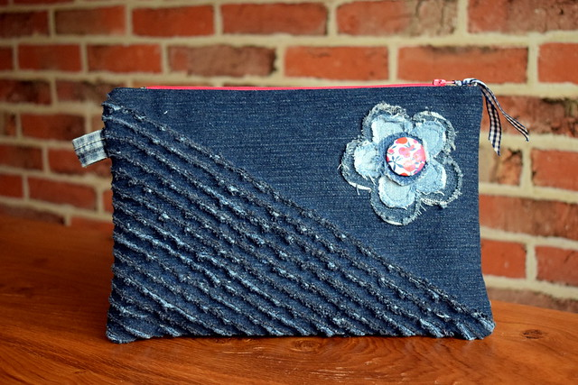 Denim Chenille Pouch (class sample)