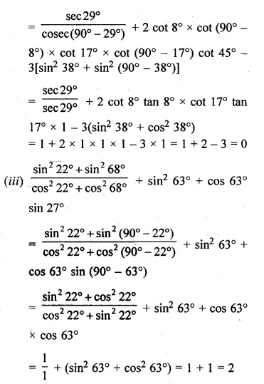 ML Aggarwal Class 10 Solutions for ICSE Maths Chapter 19 Trigonometric Identities Chapter Test 2a